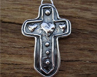 Artisan Heart Accented Sterling Silver Cross Charm and Pendant (one) (N)