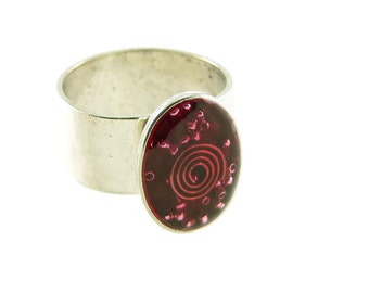 Orgone Energy Ring with Red Garnet - Small Oval Cocktail Ring - Adjustable Ring - Orgone Energy Jewelry - Artisan Jewelry