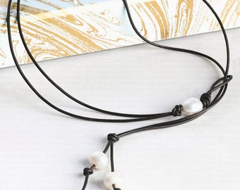 Pearl Leather Lariat necklace, 3rd Third wedding anniversary gift under 50, Leather pearl Y necklace