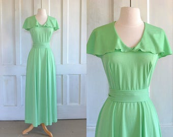 70s Maxi Dress Cape Collar Light Lime Green Belted Knit Dress