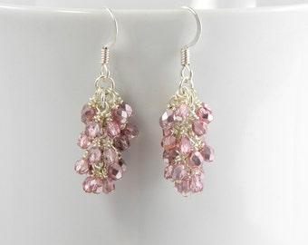 Metallic Light Pink Cascading Earrings, Pink and Silver Dangle Earrings with Surgical Steel Ear Wires