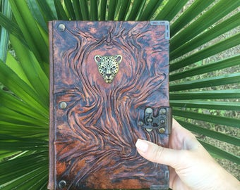 Steampunk Journal, Leather Journal, Travel Journal, Leather Notebook, Cheetah Journal, Embossed Leather, Gift Idea