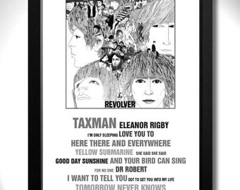 THE BEATLES - Revolver Album Limited Edition Unframed A4 Art Print Mini Poster with Song Titles