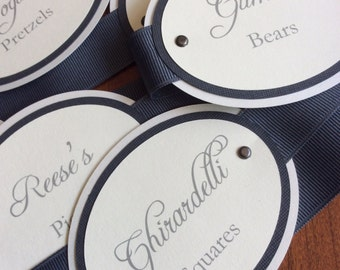 Charcoal Gray & Ivory Candy Tags
