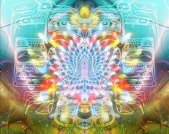 BLUE GUARDIAN -- Tapestry, Wall Hanging - Pumayana Visionary Healing Art, Spiritual, Psy, Shamanic, Sacred Geometry, Entheogenic Art
