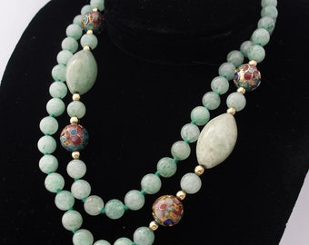 Vintage Cloisonne Necklace, Single Strand with Aventurine Beads, Cloisonne Beads, Deco Style Asian Jewelry, Hand Knotted Beads