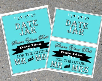 Bridal Shower: Date Jar ***BLUE & BLACK***