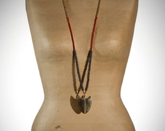 Long Ethnic Necklace with GOLDEN BRASS ARROW handmade with glass and brass beads Red and Black