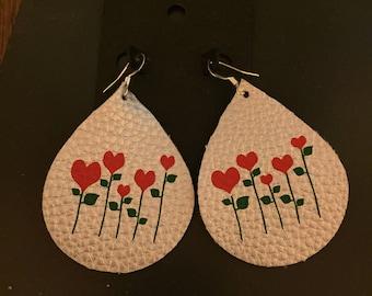 faux leather earrings valentine heart flowers