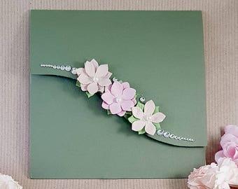 Green pink pocket wedding invitation (carmelia)
