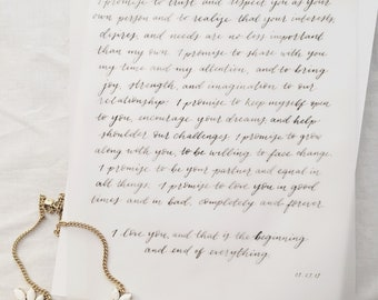 CUSTOM Calligraphy Vows, Handwritten Vows, Modern Calligraphy Wedding Vows, Hand Lettered Vows — Wedding Gift, Anniversary Gift