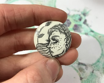 "1"" One of a Kind Pin - Original Art Pinback Button - Illustration Button Accessory, Profile Portrait - Graphite Drawing"