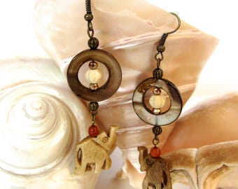 Boho chic fun brown carved bone elephant drop pierced earrings w/shell rings,red agate,bronze crystal & antique brass beads + ear wires