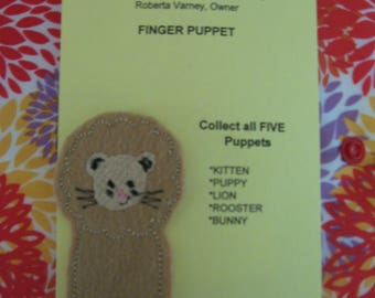 Lion finger puppet - Embroidered Finger Puppets -  zoo finger puppet - safari - Compliant Finger puppet -  Compliant toy