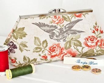 Clutch Bag - Purse - Hand Bag - Evening Bag - Wedding Bag - Handmade bag featuring beautiful vintage-style flower and bird fabric