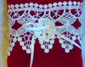 Ring bearer pillow, red velvet and white Venice lace pillow, Valentine ring pillow, velvet and lace decor accent, red wedding lace accent