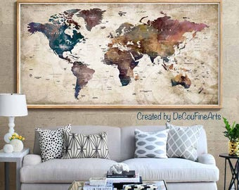 World map poster etsy large world map poster printworld map wall artworld map art print gumiabroncs Choice Image
