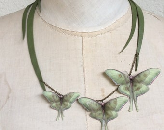My Garden - Handmade Green Leather Grass Necklace with Cotton and Silk Organza Luna Moths Butterflies, Statement Necklace - One of a Kind