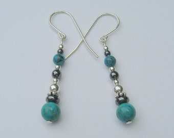 Sterling Silver Chinese Turquoise Dangle Earrings