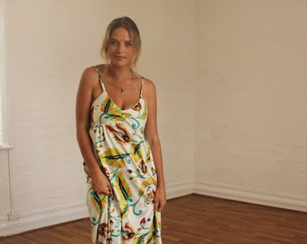 Vintage 1970's Style Floral Psychedelic Swirl Maxi Dress // AU made