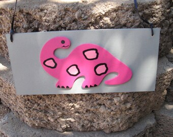 Dinosaur Wall Hanging Sign Plaque Pink & Grey