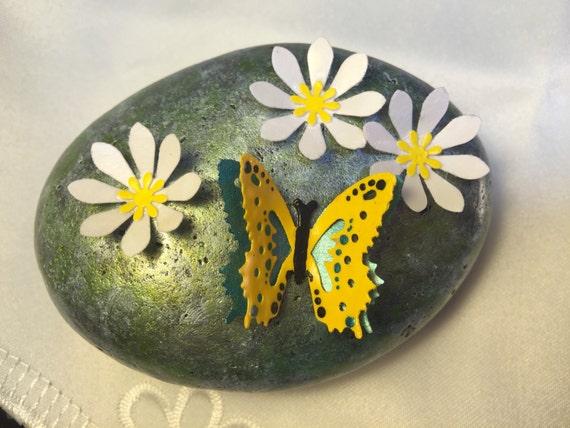 Butterflywhite flowerspainted stonepainted rockpaper like this item mightylinksfo Gallery
