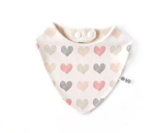 Bandana bib for teething baby 100% cotton organic hearts