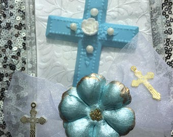 personalized chocolate cross with flower and pearls in box favor communion baptism confirmation