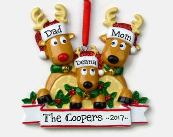 3 Reindeer Family Personalized Ornament - Rudolph Family of Three - Hand Personalized Christmas Ornament