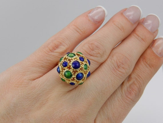 Antique Dome Ring Blue and Green Enamel Vintage Ring Estate Antique 18K Yellow Gold