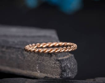 Twist Wedding Band Rose Gold Eternity Band Stacking Delicate Women Braid Minimalist Ring Anniversary Gift For Her Bridal Matching Dainty