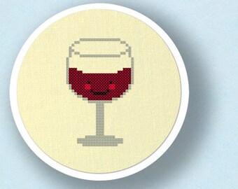 Glass of Wine Cross Stitch Pattern, Modern Simple Cute Counted Cross Stitch PDF Pattern. Instant Download