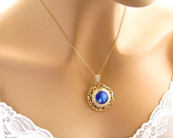 Sapphire Blue Crystal Necklace, Gold Bridal Necklace With Rhinestones Swarovski Blue Crystal Pendant, Sparkly Royal Blue Bridesmaid Necklace