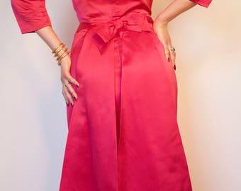 1950s Hot Pink Satin Bombshell Bow Wiggle Dress