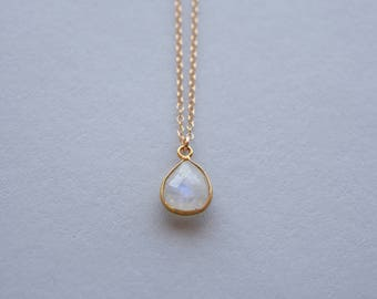Faceted Moonstone Teardrop Pendant with Gold Fill Chain Necklace