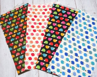 Hedgehog Print Japanese fabric scrap 9.6 inches square each set  of 4 colors sc05