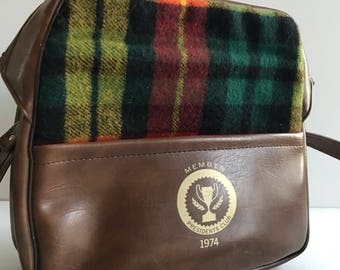 BOWLING Bag IDS Presidents Club 1974 Caramel Brown Vinyl Tartan Wool Accents Vintage Retro Bag