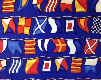One FAT QUARTER of Fabric Material - Nautical Flags