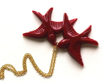Cherry red flying kissing vintage plastic swallow love birds gold necklace LAST ONE