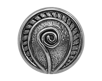 3 Fiddlehead Fern 11/16 inch ( 18 mm ) Metal Buttons Silver Color