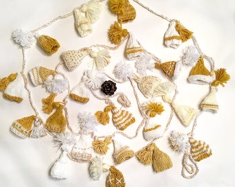 Gold Hat Garland- 24 Unique Hats- Gold| White- 15 Ft Long- Hand Knitted- Embroidered, Tassels- Christmas, Holidays