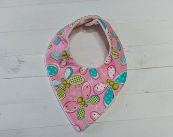 Spring pink Bandanna baby bib for girls with soft pink mink fabric, Cotton and Mink baby bibs