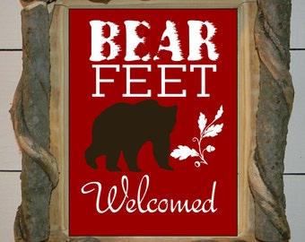 Log Cabin Art, Bear Art Print, black bear, cabin decor, woodland art, Bear Feet Welcomed