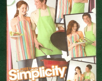 Simplicity 0507 Bib Apron  With a Halter Strap, And Ties In The Back, Make Two For His and Hers, UNCUT