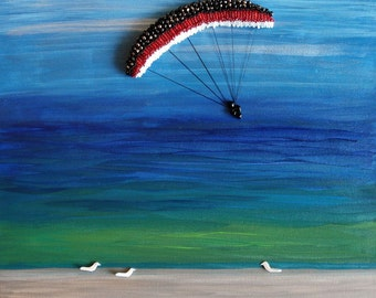 Parasail the Blue Skies. Beaded Beach painting on canvas 12 x 12/ Ready to Ship
