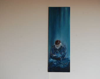 vertical oil in bluish tones d painting a man in his solitude
