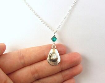 Cowgirl Necklace- choose a birthstone, Cowboy Hat Necklace, Cowgirl Hat Charm, Cowgirl Necklace, Country Girl Gift, Cowgirl Gift, Western