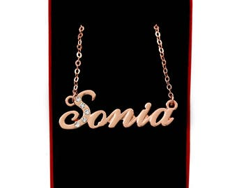 SONIA - 18K Rose Gold Plated Name Necklace With Swarovski Elements - Inc. Free Gift Box & Bag