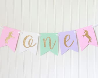 Gold, Pink, White, Mint, Purple ONE High Chair Unicorn Happy Birthday Banner/ Girl Princess Party/ Party Decorations/1st birthday/ cursive