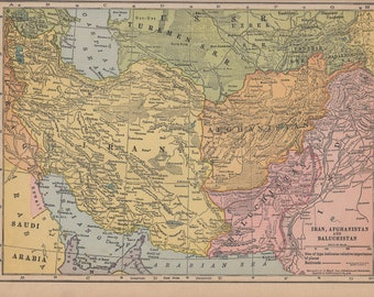 Vintage 1935 Atlas Map of Iran, Afghanistan, Balochistan and India